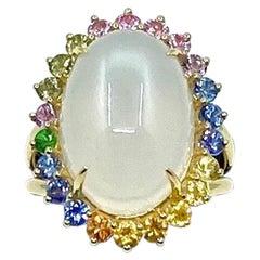 18 Karat Gold Moonstone and Sapphires Ring
