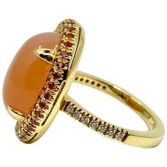 18 Karat Gold Moonstone, Sapphires and Diamonds Ring