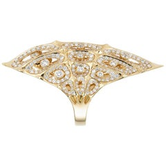 18 Karat Gold Morphogen Shield Ring by John Brevard