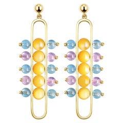 Impressionists Dangle Earrings 18 Karat Gold Mother of Pearl Aquamarine Amethyst