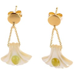 18 Karat Gold Mother Pearl Carved Shell Green Tourmaline Drop Intini Earrings
