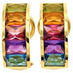 18 Karat Gold Multi Gemstone Clip-On Earrings