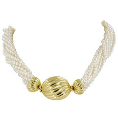 18 Karat Gold Multi-Strand Pearl Necklace