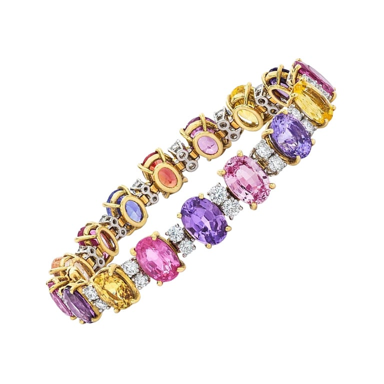 18 Karat Gold Multicolored Oval Sapphires 49.95 Carat and Diamonds Bracelet For Sale
