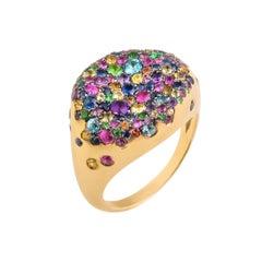 18 Karat Gold Multicolored Sapphire Baby Malak Multi Round Ring