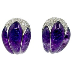 18 Karat Gold Natural Carved Amethyst and White Diamonds Earrings