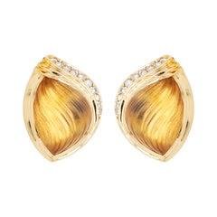 18 Karat Gold Natural Citrine Gemstone Carving Diamond Stud Earrings