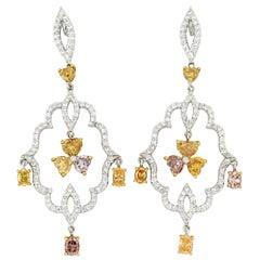 18 Karat Gold Natural Colored Diamond Earrings