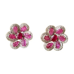 18 Karat Gold, Natural Cut and Carved Mozambique Ruby & Diamonds Stud Earrings