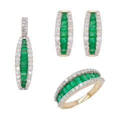 18K Gold Sandawana Emerald Diamond Pendant Necklace Huggies Earrings Ring Set