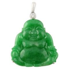18 Karat Gold Natural Jade and Diamond Buddha Pendant 75.94 Carat