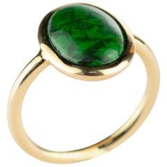 18 Karat Gold Natural Jade Green Central Oval Cabochon Boho Woman Cocktail Ring
