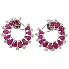 18 Karat Gold Natural Mozambique Ruby and Pear Diamonds Hoop Earrings