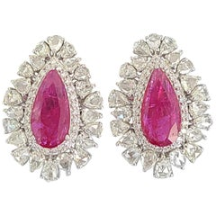 18 Karat Gold Natural Mozambique Ruby and Rose Cut Diamonds Stud Earrings