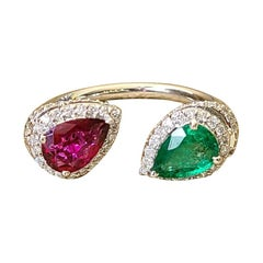 18 Karat Gold, Natural Pear Emerald & Rubilite and Diamonds Cocktail Ring