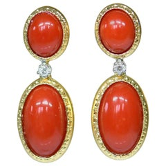 18 Karat Gold Natural Red Coral and Diamond Dangle Earrings