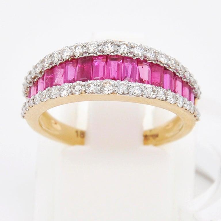18 Karat Gold Natural Ruby Diamond Huggies Pendant Necklace Earrings Ring Set For Sale 8