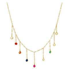 18 Karat Gold Navaratna Fringe on Sequin Chain Necklace
