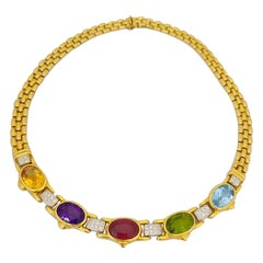 18 Karat Gold Necklace with 5 Oval Semi-Precious Stones and 1.36 Carat Diamonds
