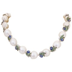 18 Karat Gold Necklace with Baroque Pearls, Sapphires, Tsavorites and Diamonds