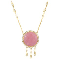 18 Karat Gold Necklace with Round Cabochon Pink Opal and Diamonds .53 Carat