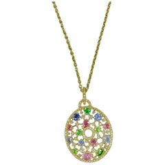 18 Karat Gold Sapphires, Diamonds and Tsavorite Italian necklace