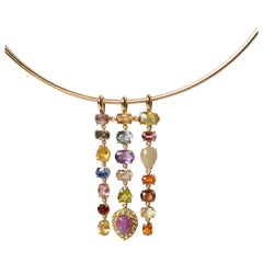 18 Karat Gold Necklace with Tremblant Pendant Tourmaline Sapphire Ruby