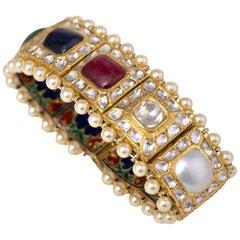 18 Karat Gold Nine Precious Gems Statement Handcrafted Bracelet with Enamel Work