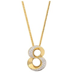 "18 Karat Gold Number ""8"" Diamond Pendant with Necklace"