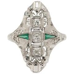 18 Karat Gold Old European Brilliant 3 Diamond Cocktail Ring Art Deco Style