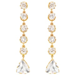 18 Karat Gold Old Mine and Rose Cut Diamond 12+ Carat Victorian Style Earrings