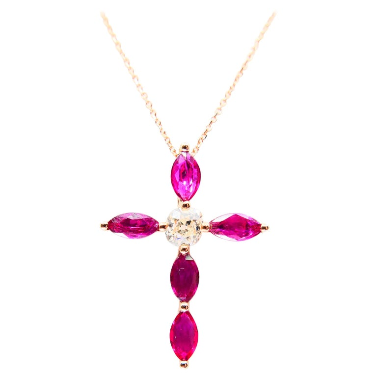 18 Karat Gold Old Mine Cut Diamond and Burma Rubies Cross Pendant Necklace For Sale