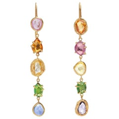 Blue Yellow Orange Pink Sapphires and Tsavorite Gold Drop Earrings