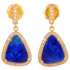 18 Karat Gold Opal Diamond Drop Earrings