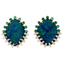 18 Karat Gold Opal Diamond Stud Earrings
