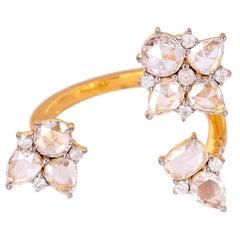 18 Karat Gold Open Rose Cut Diamond Ring