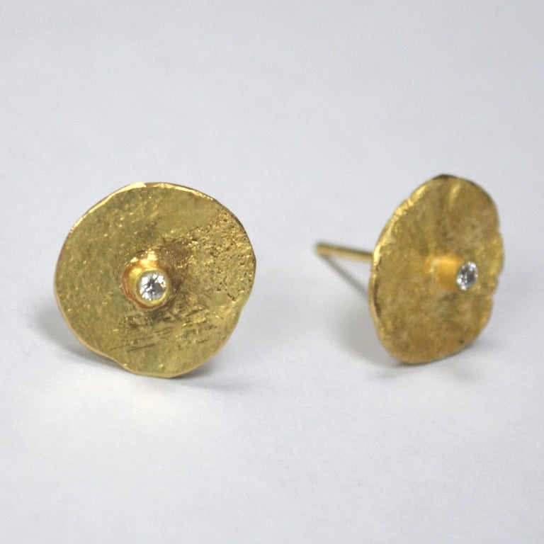 Contemporary 18 Karat Gold Organic Texture Diamond Disc Earrings Handmade by Disa Allsopp For Sale