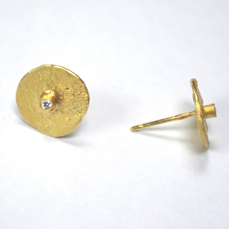 Round Cut 18 Karat Gold Organic Texture Diamond Disc Earrings Handmade by Disa Allsopp For Sale