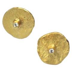 18 Karat Gold Organic Texture Diamond Disc Earrings Handmade by Disa Allsopp