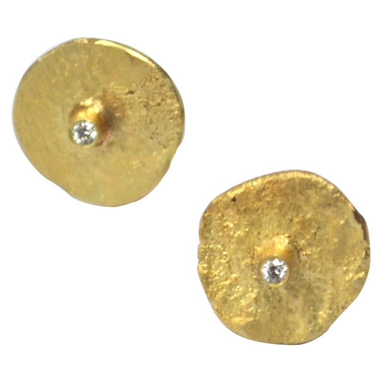18 Karat Gold Organic Texture Diamond Disc Earrings Handmade by Disa Allsopp For Sale