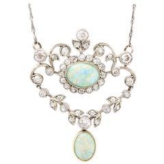Original Edwardian Opal and Diamond 18 Karat Gold Articulated Pendant Necklace