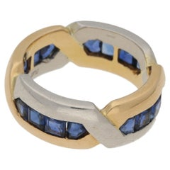 Art Deco Style Oscar Heyman Sapphire Eternity Ring in 18k Yellow & Platinum