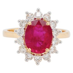 18K Gold Oval Certified Mozambique Ruby Diamond Cluster Engagement Bridal Ring