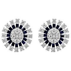 18 Karat Gold Oval Cluster Push-Back Earrings Diamond and Sapphire Gemstones
