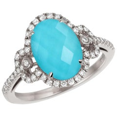 18 Karat Gold Oval Cocktail Doublet Ring with White Topaz, Turquoise & Diamonds