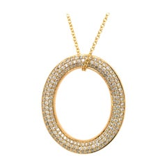18 Karat Gold Oval Diamond Micro Pave Reversible Pendant Necklace
