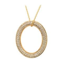 18 Karat Gold Oval Diamond Pave Pendant Necklace