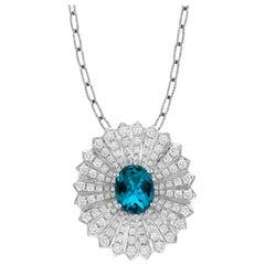 18 Karat Gold Oval Pendant Fashion Necklace with London Blue Topaz and Diamonds