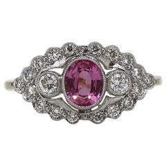 18 Karat Gold Oval Pink Sapphire and Diamond Art Deco Style Cluster Ring