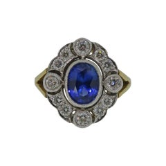 18 Karat Gold Oval Sapphire and Diamond Art Deco Style Cocktail Cluster Ring